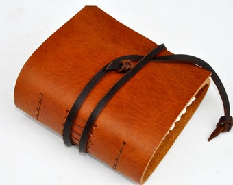 "Handmade Leather Journal 4 1/2"" x 4 1/2"" - 140 lb watercolor paper - Sketchbook"