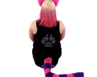Pawstar Cheshire CAT You Pick Color Kitty Ears Tail Headband Neon Pink Purple Turquoise Blue Gray Costume anime cosplay faux fur 4010