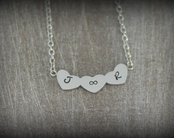 Personalized Three Heart Initial Necklace - Minimalist Heart Necklace - Dainty Initial Necklace