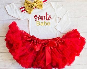 Baby Girl Christmas Outfit...Santa Babe Top..Red Christmas Top Skirt..Leg Warmers..Baby Headband/First Christmas Outfit...Santa Pictures.