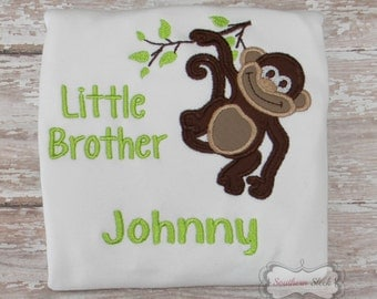 Little Brother Monkey Embroidered Shirt or Bodysuit