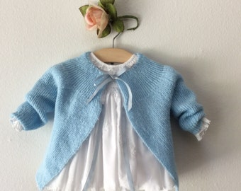 Vintage Hand knit BABY BLUE Sweater