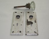 Vintage Glass Doorknob and 2 Metal Plates Chippy White Paint