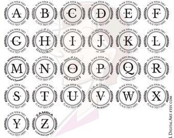 Alphabet Laurel Wreath Circle Frame Png Clip Art Serif Letters Caps Monogram Vectors Instant Download Commercial Use 10663