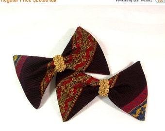 FALL SALE, Vintage Bow Hair Clips - Bow Tie Barrette Set - Retro Bow Hair Accessory - Designer Hair Bows - Vintage Bow Barrette - Bow Tie Ha