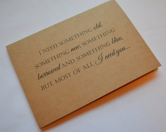 Something OLD something NEW something borrowed and something blue but most of all you BRIDESMAID card will you be my bridsmaid cards wedding