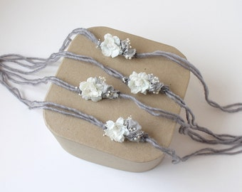 Gray and Ivory Floral Cluster on Braided Halo Tieback Headband - Newborn, Baby, Toddler, Child - Ready to Ship