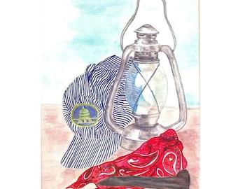 Railroad Lantern, Hat,  Spike Matted Fine Art Print of Original Watercolor Painting of Memorabilia - Train Home Decor