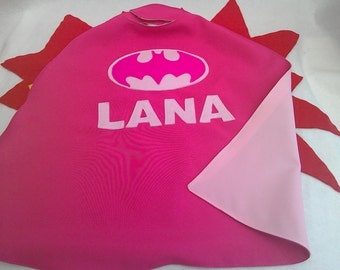 Pink Batgirl cape with your choice of name
