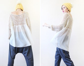 Vintage beige loose cable knit sheer chiffon back long sleeve slouchy sweater top