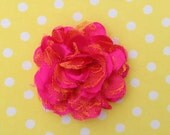 Hot Pink & Orange Shabby Chiffon Lace Flower for making baby headbands and crafts 3.75 inches wholesale tangerine two-toned