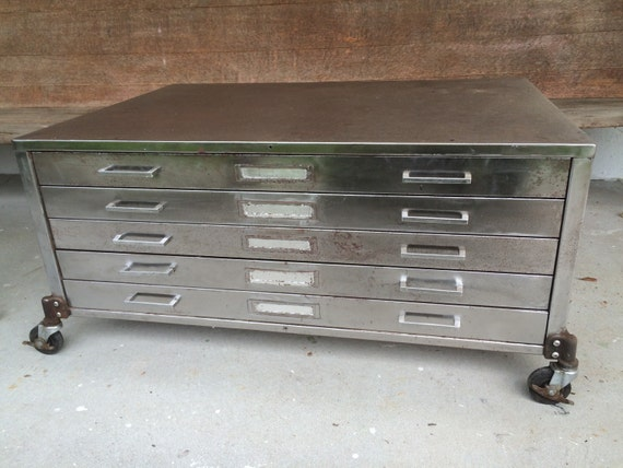 Vintage Flat File Cabinet Coffee Table On Antique By Gungorkaya