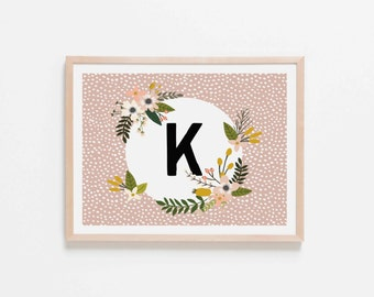 Blush Monogram K Nursery Art. Nursery Wall Art. Nursery Prints. Blush Wall Art. Personalized Wall Art. Monogram Art. Floral Art.