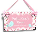 personalized mothercare bird girl room door sign - lovely pink roses - P2525