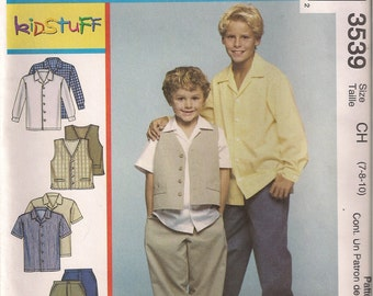 McCall's Sewing Pattern 3539 - Children's and Boys' Shirts, Vest, and Pants (3-6, 7-10)
