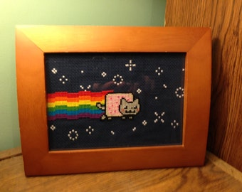 Nyan Cat Cross-Stitch