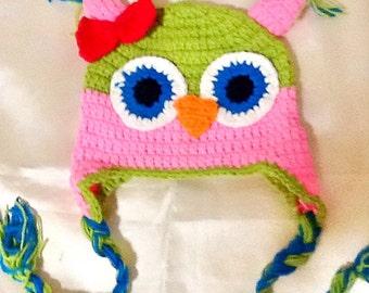BABY OWL Hat -crochet handmade baby hat -animal hat -kids boho owl hat