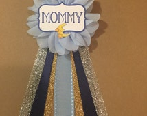 Blue Moon And Stars Baby Shower Mommy-to-be Flower Ribbon Pin Corsage Gold Glitter Mommy Mom New Mom its a boy silver