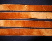 Antique narrow bronze silk velvet ribbon 46 ins long  x  7/8 ins wide c 1900 yardage