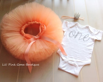 PEACH AND SILVER Smash Cake Outfit, Girls First Birthday Outfit, Peach and Silver Birthday Outfit, 3 piece set, Tutu Headband and Bodysuit