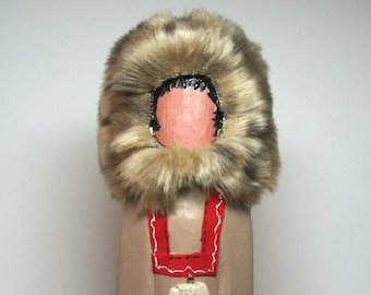 Eskimo Native American Indian faceless art doll gift, Alaska Inuit signed & numbered
