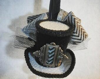 Grey and black silver chevron mini top hat fascinater costume accessorie