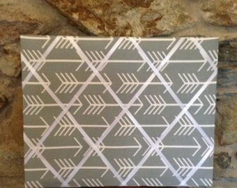 16x20 Gray and white arrow memo board - French memo board - message board - memory board
