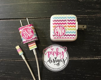 iphone or iPad charger wrap - Monogram charger wrap - Colors Customizable - Rainbow Chevron