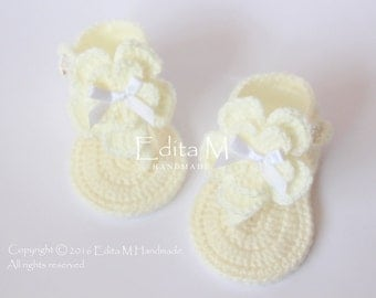 Crochet baby sandals, baby girl gladiator sandals, baby booties, flower slippers, baby shoes, baby shower, 0-3, 3-6 months, gift for baby