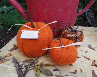Pure wool and checked tweed decorative Autumn pumpkins - large size