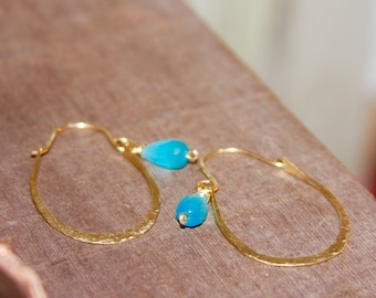 Teal Hoop Earrings. Gold Hoop Earrings. Rustic Hoops Earrings. Teal Earrings. Hammered Hoop Earrings. Custom Hoop Earrings.  Teal Earrings