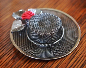 Vintage BOLERO HAT Metal Mesh Brooch with Silk Rose. Free Shipping.