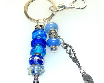 Blue Beaded Angel Wing Key Ring with Believe Charm