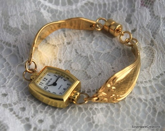 SPOON WATCH BRACELET - Golden Old South 1949 - Silverware Watch Jewelry Fork Jewelry Spoon Jewelry Made in Usa