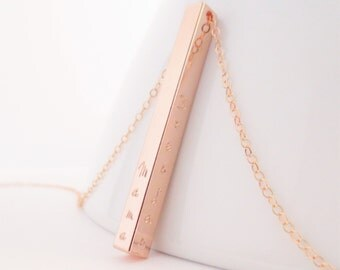 Personalized Rose Gold Four Sided Bar, Name Necklace, Mama Jewelry, Kids Names