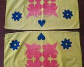 Antique Pennsylvania patchwork pillowcase pair, applique, bright PA German colors, ca. 1880