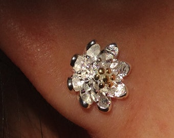 50% SALE 10mm White Flower Golden Core Stud Earrings, sterling Silver Post Earrings,Bridesmaid Wedding Earrings,Floral Earrings