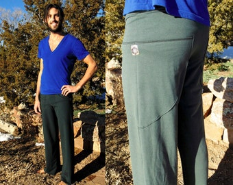 Pictor Pant ~ Men's Yoga Pants with Leaf Shaped Pockets. Drawstring lounge pants. Unisex Activewear. Organic Cotton Pajama Bottoms.