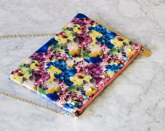 Studded Jumbo All Floral Clutch Bag - Carry All - Gold Pyramid Studs