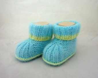 Baby Booties, Cute Baby Booties, Angora Baby Booties, Blue and Yellow Baby Booties, Handknitted Baby Booties