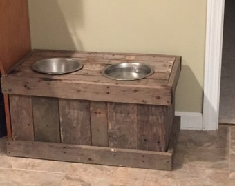 Handmade rustic pallet dog feeding station