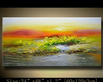 contemporary wall art,Palette Knife Painting,colorful Landscape painting,wall decor,Home Decor,Acrylic Textured Painting ON Canvas Chen 1002