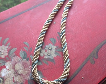 Vintage antique west german braided blue and gold tone chain  necklace free shipping sale