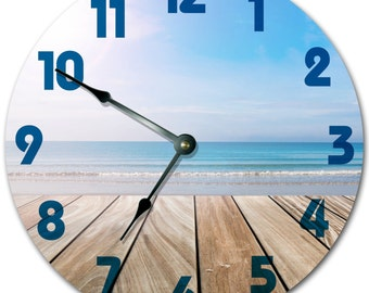 DECK WITH BEACH Clock Sand Ocean Surf Clock Large 10.5 inch Clock Novelty Clocks Beach House Decor Wall Clocks - 2002