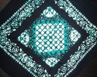 4 Navy Blue Tie-Dye Style Napkins