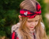 Buffalo Plaid Knot Headband, Head Wrap, Red and Black Check, Child's Turban, Girls Hair Bow, Baby Christmas, Newborn to Adult, Valentines