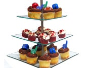 Glass Dessert Stand Three Tier Cupcake Muffin Tray Display Tree Birthday Wedding Shower Baby Party Decorations Baker's Counter Holder Supply