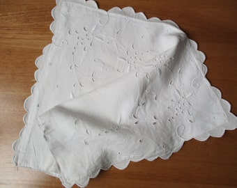 Antique french little pillowcase, 1950, White cotton, Handmade, Taie coussin,Dentelle, Vintage, France