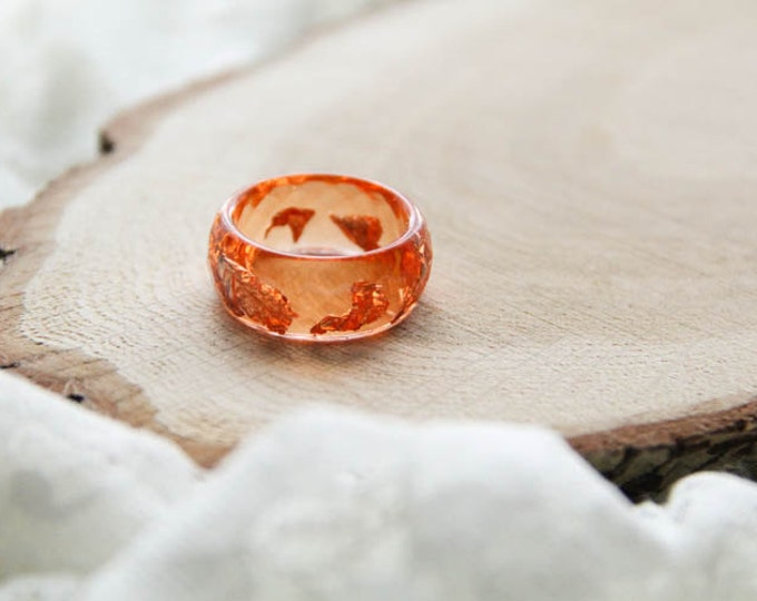 Orange Faceted Resin Ring With Silver Flakes, Hight Epoxy Ring, Geometric Resin Ring, Anniversary Ring, Modern Materials, Stackable Ring