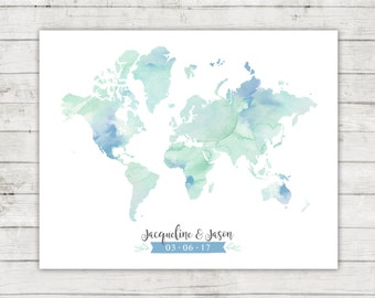 Wedding Guest Book Alternative, World Map, Digital File, Printable, Travel Themed Wedding, Watercolor